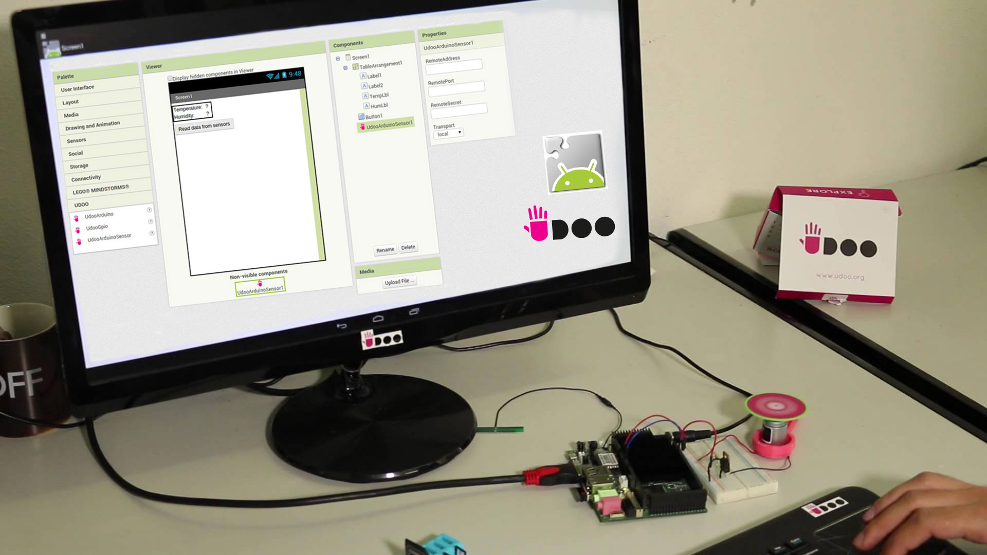 Developing  physical computing solution  with UDOO and Android App Inventor in few minutes
